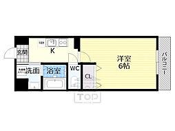 京阪本線 千林駅 徒歩6分の賃貸マンション 1階1Kの間取り