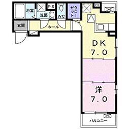JR山陽本線 高島駅 徒歩15分の賃貸アパート 2階1DKの間取り