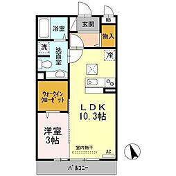 広島県福山市西新涯町1の賃貸アパートの間取り