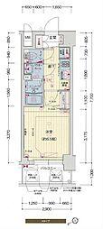 阪神なんば線 九条駅 徒歩5分の賃貸マンション 8階1Kの間取り