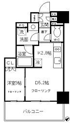 都営浅草線 高輪台駅 徒歩9分の賃貸マンション 9階1DKの間取り