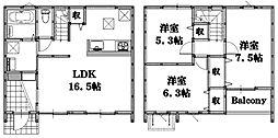 [一戸建] 広島県東広島市西条土与丸2丁目 の賃貸【/】の間取り