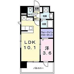 JR篠栗線 柚須駅 徒歩13分の賃貸マンション 6階1LDKの間取り