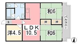 兵庫県姫路市岩端町の賃貸マンションの間取り