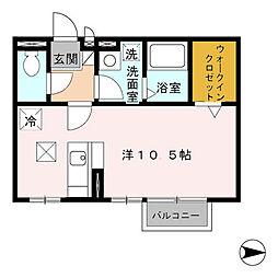 千葉県松戸市古ケ崎4丁目の賃貸アパートの間取り