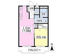パークマンション旭駅前I 3階1LDKの間取り