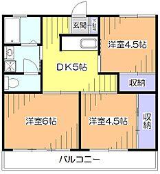東京都小平市花小金井3丁目の賃貸マンションの間取り