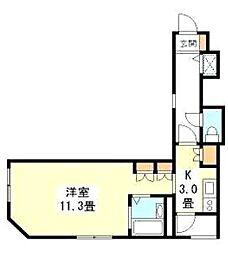 Villa銀座福運館 2階1Kの間取り