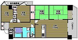 大阪府堺市南区竹城台4丁の賃貸マンションの間取り