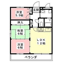 岐阜県羽島市福寿町平方の賃貸アパートの間取り