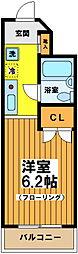 東京都渋谷区幡ヶ谷3丁目の賃貸マンションの間取り