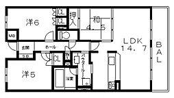シャルマンフジスマート近鉄八尾フロントテラス[1102号室号室]の間取り