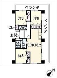 グラシオン仁大[4階]の間取り