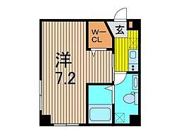 (仮)芝新町新築計画 4階1Kの間取り