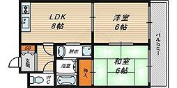 M'PLAZA城東参番館 4階2DKの間取り