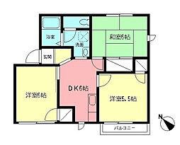 神奈川県伊勢原市下落合の賃貸アパートの間取り
