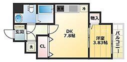 大阪 PRESTIGE ACCOMMODATION 6階1DKの間取り