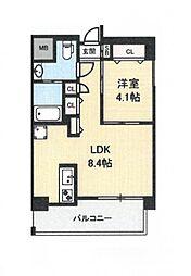地下鉄今里駅 徒歩1分 新築マンション[8階]の間取り