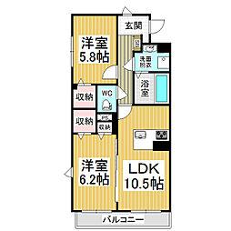 JR篠ノ井線 村井駅 徒歩19分の賃貸マンション 2階2LDKの間取り