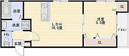 シティーコート八尾A 1階1LDKの間取り