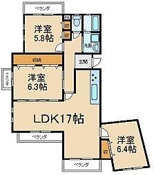 コモンシティ星田アステージ8号棟[4階]の間取り