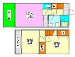 [テラスハウス] 千葉県船橋市前原東6丁目 の賃貸【/】の間取り