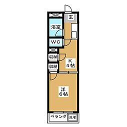 愛知県名古屋市天白区元八事4の賃貸マンションの間取り