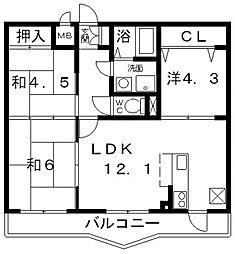 ビーバードルチェ藤井寺[402号室号室]の間取り