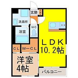 愛知県名古屋市北区浪打町1丁目の賃貸アパートの間取り