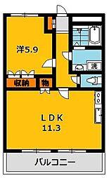 栃木県宇都宮市茂原3の賃貸アパートの間取り
