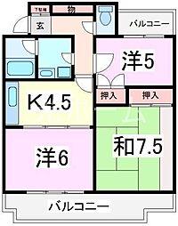 東京都清瀬市中里6丁目の賃貸マンションの間取り