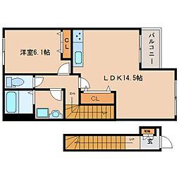 奈良県大和高田市池田の賃貸アパートの間取り