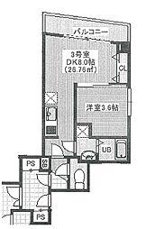JR総武線 幕張駅 徒歩10分の賃貸マンション 4階1DKの間取り