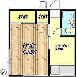 東京都世田谷区経堂1丁目の賃貸アパートの間取り