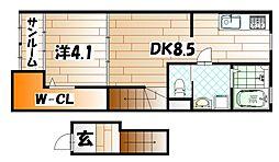 福岡県北九州市戸畑区牧山海岸の賃貸アパートの間取り