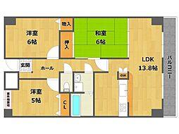 兵庫県尼崎市武庫之荘9丁目の賃貸マンションの間取り