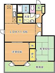 サンフォレスト B棟[1階]の間取り
