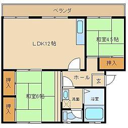 大阪府堺市西区浜寺諏訪森町西2丁の賃貸マンションの間取り