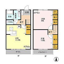 ラ・ポワールB[1階]の間取り