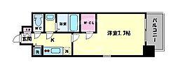 エスリード大阪城PREMIER 5階1Kの間取り