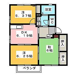 ガーデンハイツ四ッ池 B[2階]の間取り