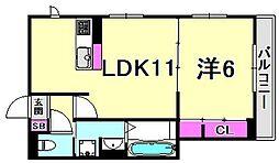 兵庫県西宮市北昭和町の賃貸アパートの間取り