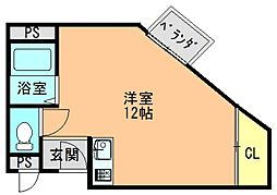 近鉄生駒線 竜田川駅 徒歩9分の賃貸マンション 3階ワンルームの間取り