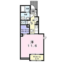 長野県松本市笹部2丁目の賃貸アパートの間取り