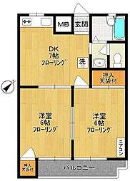 カトレヤマンション[3階]の間取り