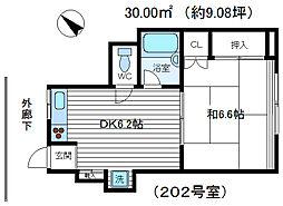 コーポK-2[202号室号室]の間取り