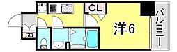 JR山陽本線 兵庫駅 徒歩2分の賃貸マンション 10階1Kの間取り