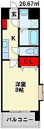 MDIアクトスぺリタ折尾駅前 4階1Kの間取り
