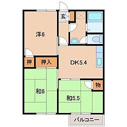 和歌山県橋本市賢堂の賃貸アパートの間取り