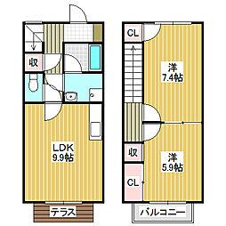 愛知県名古屋市中川区江松1丁目の賃貸アパートの間取り